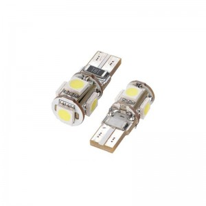 Set 2 becuri T10 cu 5 LED-uri SMD 12V (pozitie)