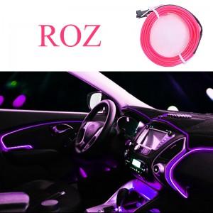 Fir neon, lumina ambientala auto - Roz (3M lungime)